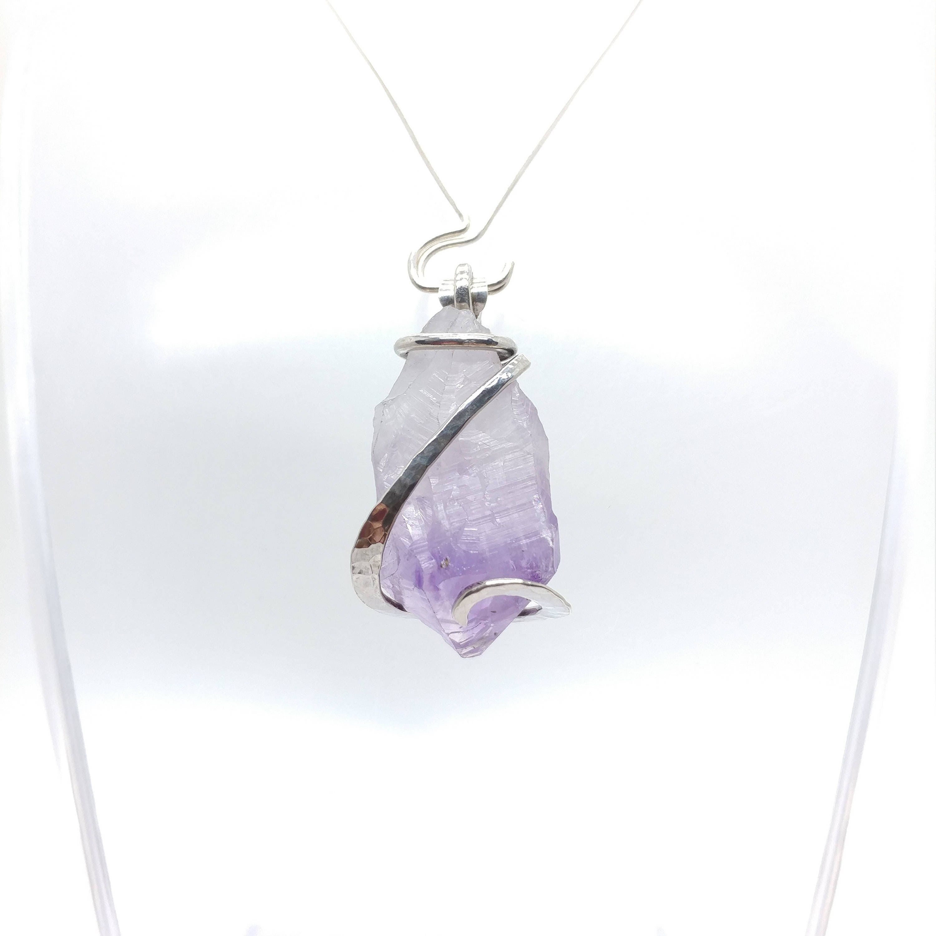 pendant rustic cut rough february nugget wrapped amazon wire necklace raw com birthstone amethyst dp