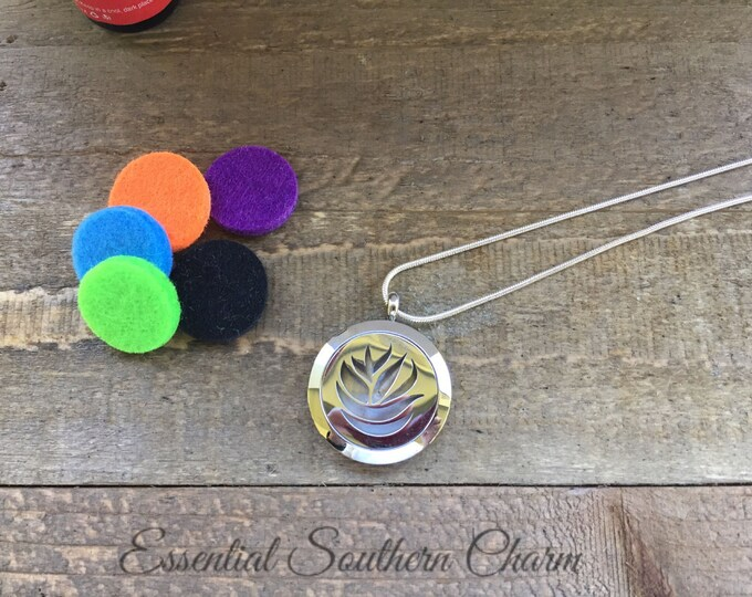 Stainless Steel Aromatherapy Necklace |  Essential Oil Diffuser Necklace | Scent Locket | Aromatherapy Necklace | ESC Flower Power 25mm