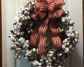 Cotton Wreath, Cotton Wreath Decor, Rustic Cotton Wreath, Everyday Wreath, Farmhouse Decor, Year Round Wreath, Farmhouse Wreath