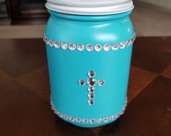 Turquoise Mason Jar with Clear Gems