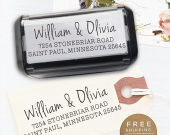 Custom Stamp, Self Inking Return Address Stamp, Boho Wedding address stamp, Calligraphy Stamp, Return Address Stamp - Olivia