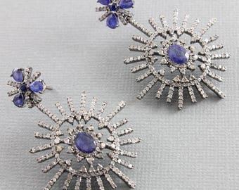 Pave Diamond Earrings, Pave Diamond and Blue Sapphire Stardurst Earrings, Pave Diamond Drop Earrings, Blue Sapphire Earrings (DER-121)