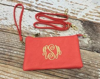 Monogrammed crossbody purse, Monogram wristlet, initials, bridesmaid gift, clutch