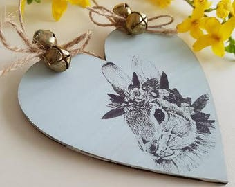 Easter Decoration Rabbit,Easter Ornament, Wooden Heart, Spring home decor, bunny decoration, Easter gift, easter tree decoration.
