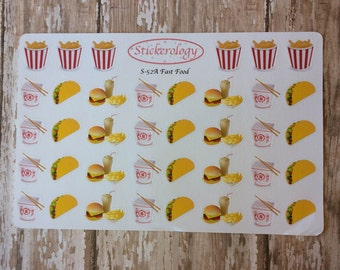 Fast Food Stickers, Taco Stickers, Chinese Take Out Stickers, Burger Stickers,  A-52.
