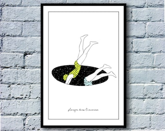 """Dive into the unknown"" - illustration series French phrases. A4. Poster / print"