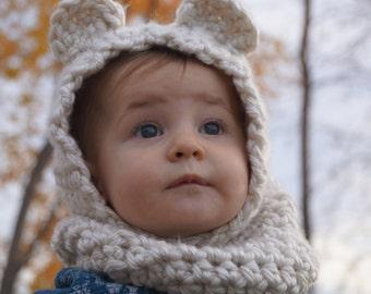 Bear Hat, Hooded Bear Cowl, Baby Bear Hat, Cream Bear Cowl, Crocheted Hat, Baby Bear Cowl,  Winter Hat, Teddy Bear Hat, Scarf, Crochet Scarf