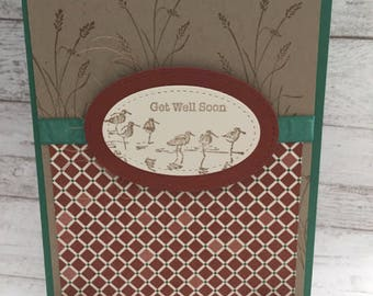 Get Well Card, Get Well Soon, Handmade Card, Sandpipers, Sea Oats, Nature Card, Stampin' Up! Wetlands