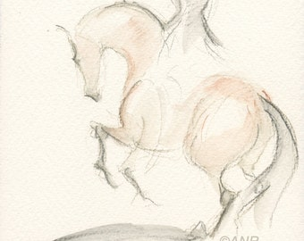 """Horse Art, Painting, Nations Cup, Dressage, Original Watercolor by Anna Noelle Rockwell, """"A Pirouette: Nations Cup"""""""