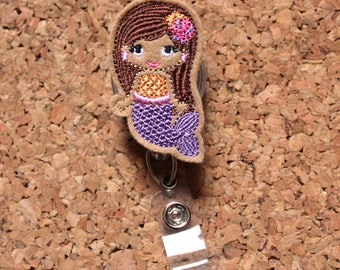 Mermaid Badge Reel | Id Card Holder | Retractable Felt Badge Holder | Lanyard | Badge Pull | Gifts for Hospital Staff | The Badge Patch 1369