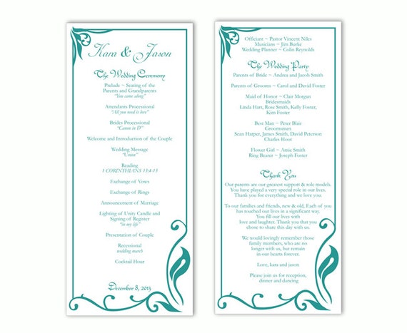 Wedding Program Template DIY Editable Text Word File Download - Editable wedding program templates