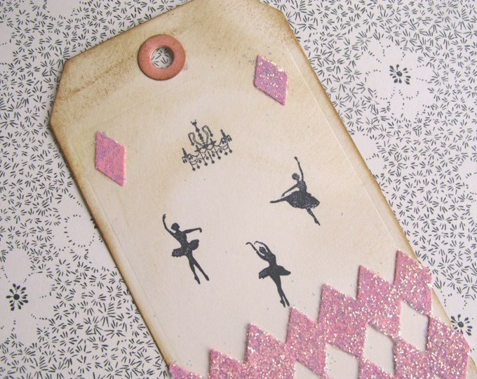 Ballerina Gift Tags,Large, Pink, Black, Hand Stamped Paper, Harlequin, Chandelier, Pink Glitter, Vintage Style, Distressed edges, 4 tags