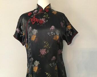 Cheongsam / Qipao Style Long Dress Black Brocade Silver Peach Print Short Sleeves Closures Satin Brocade Asian Suzie Wong Wiggle Dress Sz 44