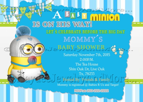 Awesome Boyu0027s Minions Baby Shower Invitation