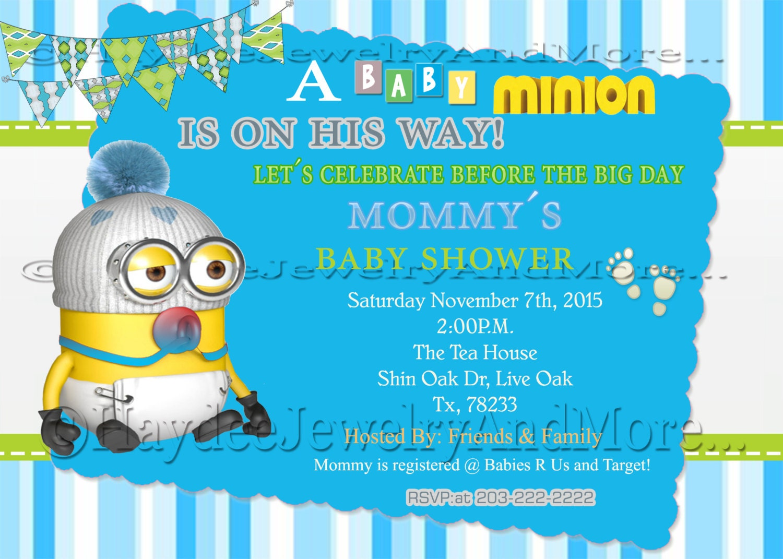 Boy\'s Minions Baby Shower Invitation