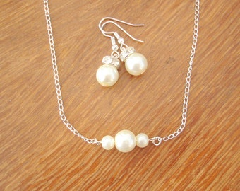 Triple Pearl Necklace and Earrings Set - Bridal Wedding Bridesmaid Jewelry, Wedding Necklace, Bridal Necklace Earrings