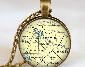 Austin map necklace, Austin map  pendant, Austin  map jewelry gift for him her with gift bag