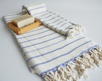 SALE 50 OFF/ SET / Turkish Beach Bath Towel / Blue Striped / Wedding Gift, Spa, Swim, Pool Towels and Pareo