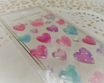 3D Kawaii Puffy Hearts Glitter Epoxy Sticker Sheet For Snail mail, cards, gifts, planners, photos, cell phones, diy, school, scrapbooking.