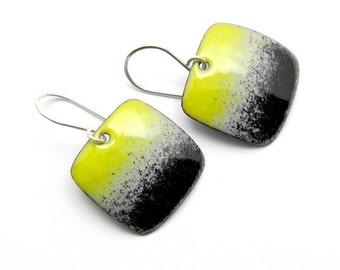 Yellow and Black Earrings - Yellow Enamel Dangle Earrings - Modern Enamel Earrings