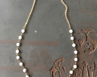 Gidget Short Necklace with White Glass Vintage Chain - Preppy Chic