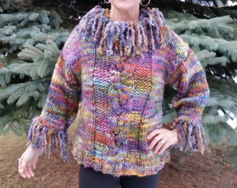"""Hand Knit Super Bulky Sweater in Hand Painted Wool.  Hand Spun Mohair """"Dreads"""" Adorn the Neck and Cuffs"""