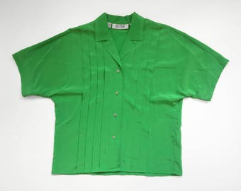 90s Green Pleated Short Sleeve Button-Up