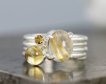 Gold Fever Stacking Ring Set - Rutilated Quartz/Citrine - Yellow Golden Gemstone Stack Rings in Sterling Silver - Size 6.25 - READY TO SHIP