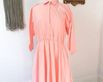 vintage VICKI WAYNE'S salmon collared dress - petite - size 14