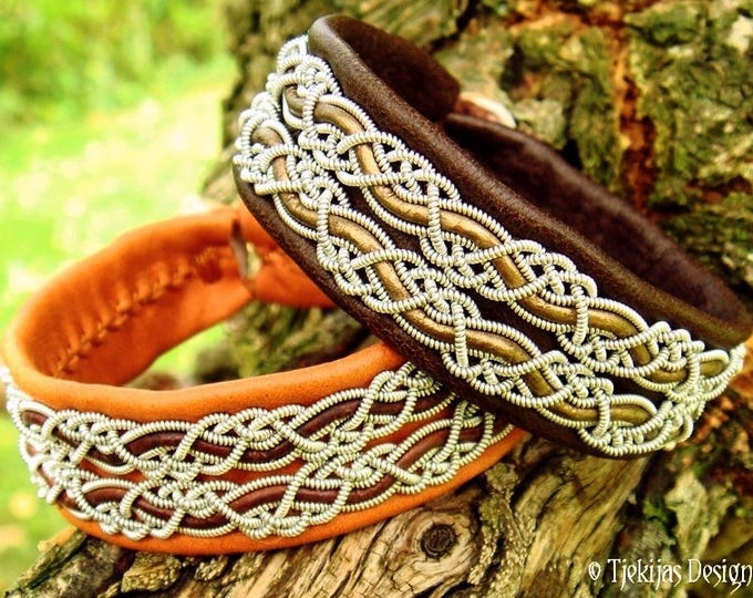 Viking or Shieldmaiden Cuff Bracelet MUNINN Brown Leather Sami Bracelet decorated with Pewter Braids - Custom Handmade to Your Wishes