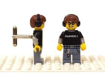 Video Game Guy minifigure cufflinks. Player 1 Cufflinks made with LEGO(R) bricks. Cuff links Cufflink Wedding gift