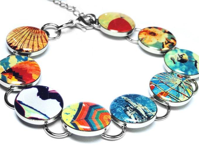 Whimsical Carnival Ferris Wheel and Flowers Bracelet, Handmade Jewelry, Resin Bracelet, Hot Air Balloon, Gift for Her