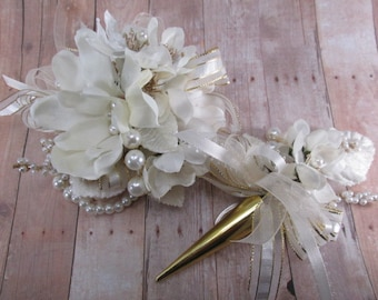 Ivory White Pearl and Gold Wrist Corsage and Magnetic Boutonniere Prom Set or Wedding Accessories