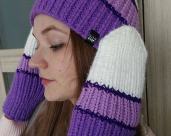 Winter Set Mitens and Beanie hat, knitted hat, knitted mitens, handmade, winter hat for woman, knitted, purple