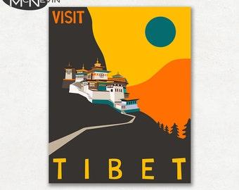 TIBET, ASIAN Travel Poster, Retro Pop Art