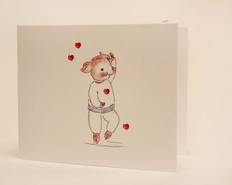 Pig pink and white Valentine  greeting card