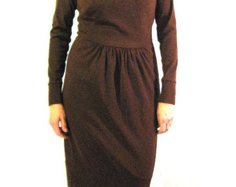 CUSTOM Mocha Silk gathered front dress has long sleeves