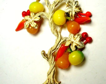 HOBE Signed Tree Pin w  Dangling Colorful Fruit Charms, 1960s, White Enamel Bark and Leaves on Goldtone, Fruits Wiggle