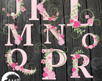 Floral Alphabet clipart, Alphabet clipart, Pink Roses, Floral clipart, Letters J to R commercial use, digital clip art, AMB-527