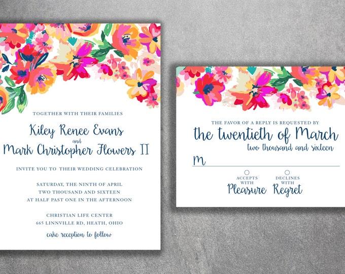 Floral Wedding Invitations, Cheap Floral Wedding Invitations, Affordable Invites, Floral, Water Color Wedding Invitation, Wedding Invites