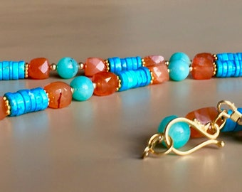 Sunny and bright Amazonite, Turquoise and Carnelian necklace