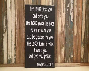 The Lord Bless and Keep You Numbers 6:24-26 Custom Wood Sign ~ Gift For Godson ~ Scripture Wall Art ~ Gift From Godparents ~ Bible Verse