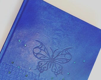 Leather journal blue, custom leather book for women, journal and notebook handmade, butterfly  engraved, gift my self, anniversary for she