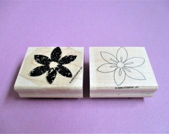 Two Step 2 Piece Large Floral Papercraft Stamp Set DIY Rubber Stamp Set Abstract Floral Card Making Invitations Scrapbooking Planner Goodie
