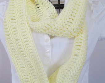 Yellow Infinity Scarf, Pastel Yellow, Ready to Ship