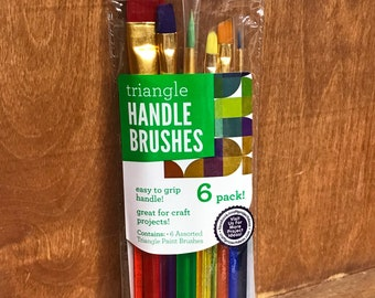 6 Pack of Assorted Triangle Handle Paint Brushes