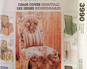 McCall's Home Decorating 3990 Chair Cover Essentials Pattern, UNCUT, 2003, Chair Cover Essentials, Home Decor, Holiday, Wedding, Party
