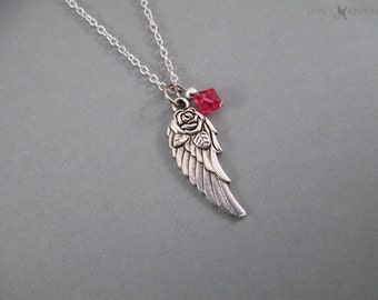 Daryl Dixon Wing Rose Charm Necklace - The Walking Dead Inspired - Silver Charm