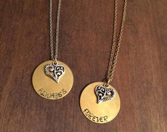 Always and Forever Necklace Set- BFF Jewelry- Couples Necklace Set- Friendship Necklace Set- Sister Jewelry-  Brass and Heart Necklace