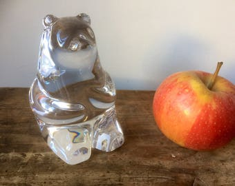 Large/crystal/ bear /figurine/paperweight/bookends/orrefors/1970s/olle alberius/midcentury/modern/modernist